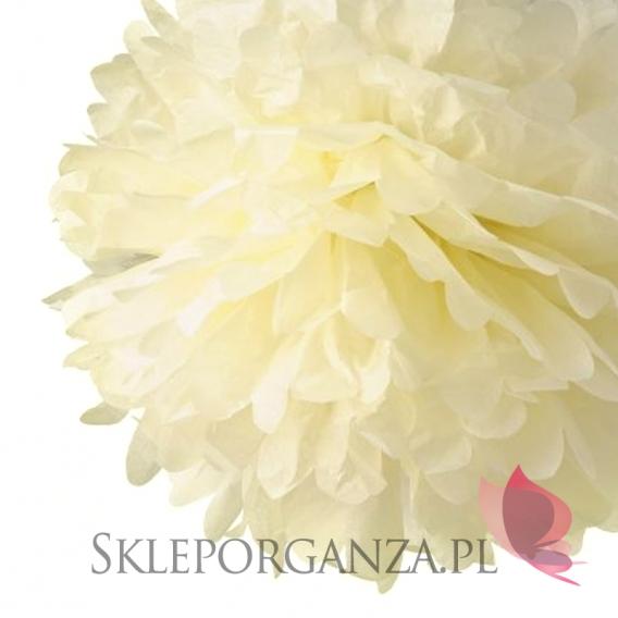Papierowe kule kwiatowe pompony Papierowy kwiat, kremowy, 35cm