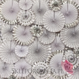 Rozety metaliczne Rozetka metaliczna srebrne ukośne paseczki 30cm