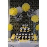 Papierowe kule kwiatowe pompony Papierowy kwiat, żółty, 35cm