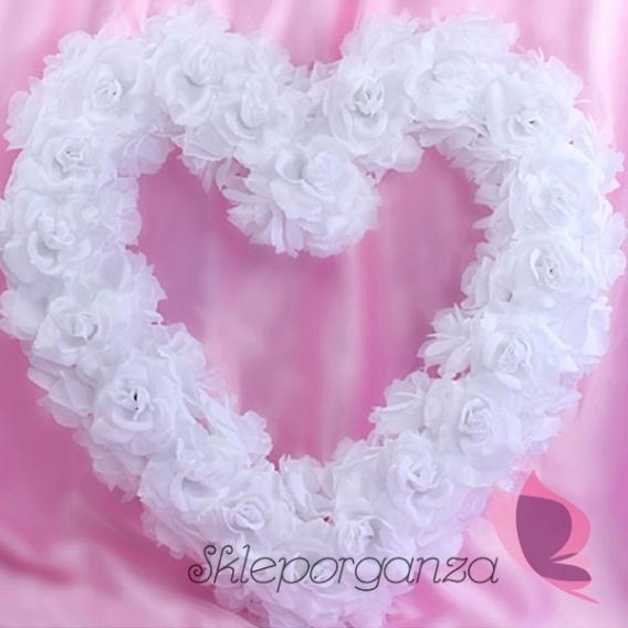 Serca kwiatowe Serce z kwiatów puste białe, 50cm