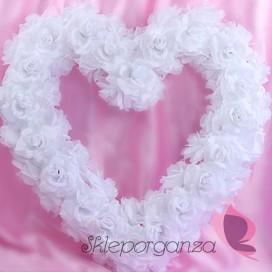 Serce z kwiatów puste białe, 50cm