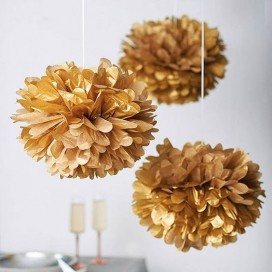 Papierowy kwiat metaliczny, złoty, 25cm