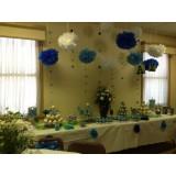 Papierowe kule kwiatowe pompony na wesele Papierowy kwiat, ciemnoniebieski, 35cm