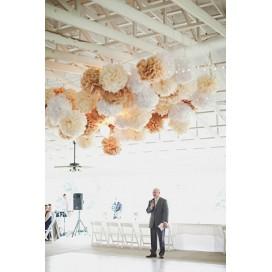 Papierowe kule kwiatowe pompony Papierowy kwiat, kremowy, 50cm