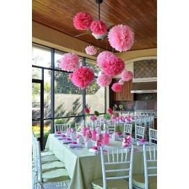 Papierowe kule kwiatowe pompony Papierowy kwiat, różowy, 50cm