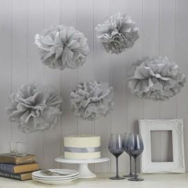 Papierowe kule kwiatowe pompony na wesele Papierowy kwiat, szary, 35cm