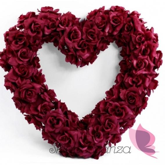 Serce z kwiatów puste bordowe, 50cm