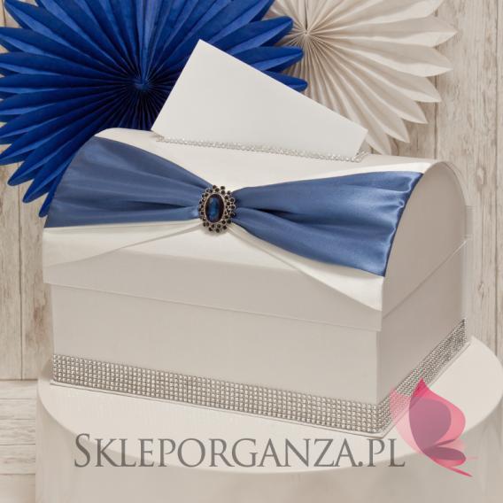 Ekskluzywne pudełka na koperty ślubne Kuferek na koperty KOKARDA - granat