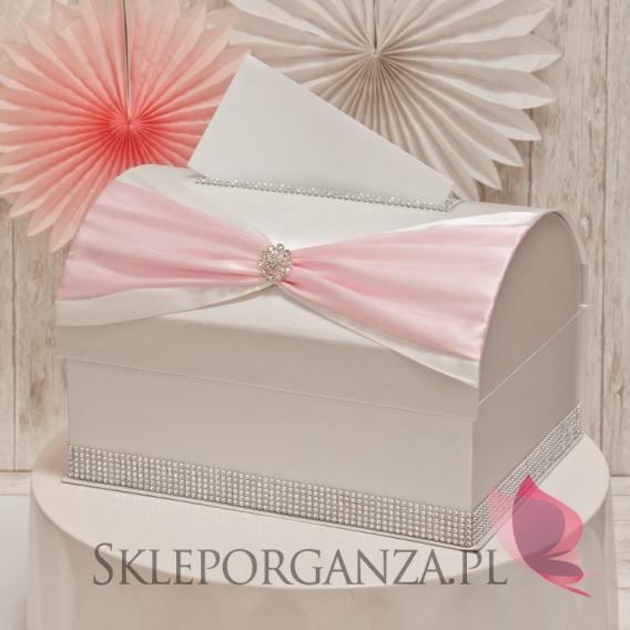 Ekskluzywne Kuferek na koperty KOKARDA - jasny róż