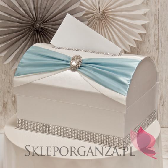 Ekskluzywne pudełka na koperty ślubne Kuferek na koperty KOKARDA - błękit