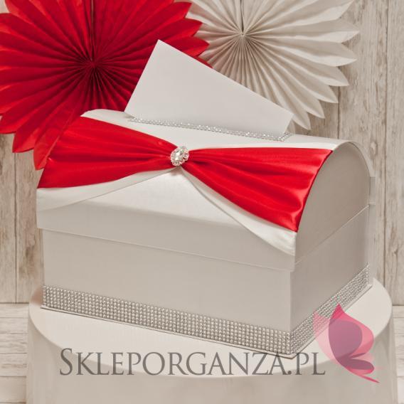 Ekskluzywne pudełka na koperty ślubne Kuferek na koperty KOKARDA - czerwony