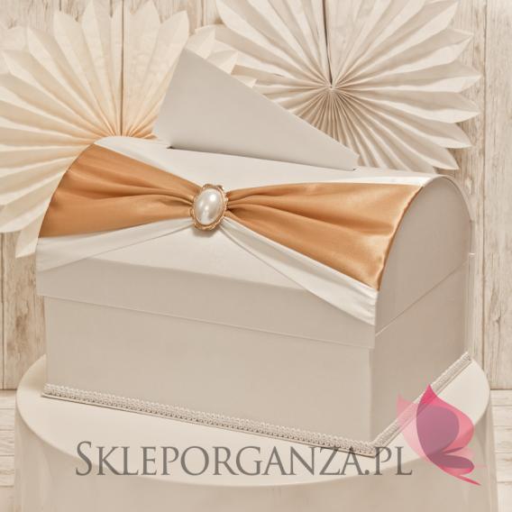 Ekskluzywne pudełka na koperty ślubne Kuferek na koperty KOKARDA - złoty