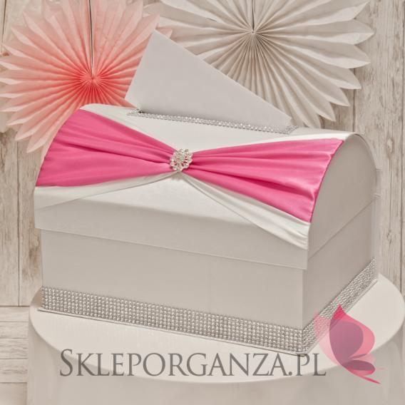 Ekskluzywne pudełka na koperty ślubne Kuferek na koperty KOKARDA - ciemny róż