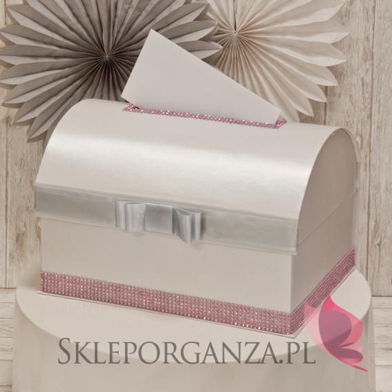 Kuferek na koperty - szary-róż