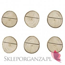 Winietki i numery stolików do wypisania Drewniane podstawki na winietki, 6szt.