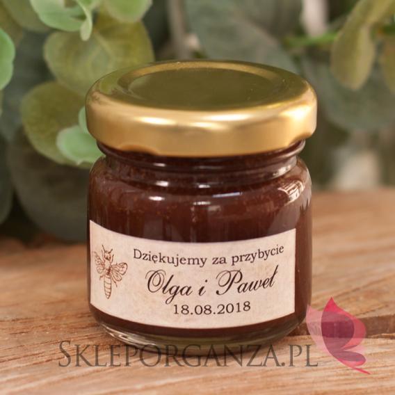 Słoiczki z miodem Podziękowanie dla gości - miód z kakao - personalizacja