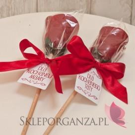 Podziękowania dla rodziców/świadków Lizak róża czerwona - personalizacja