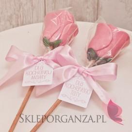 Podziękowania dla rodziców/świadków Lizak róża różowa - personalizacja