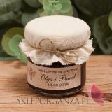 Miodziki weselne personalizowane Podziękowanie dla gości - miód z jagodami - personalizacja
