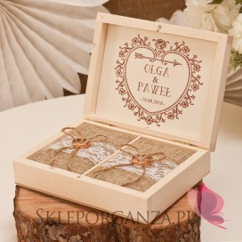 Drewniane pudełko na obrączki - personalizacja kolekcja VINTAGE