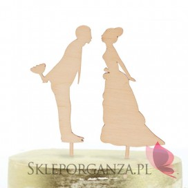 Drewniany topper na tort Para Młoda