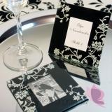 Glamour Szklana ramka - czarna - personalizacja