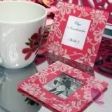 2w1 Upominki/Winietki Szklana ramka - różowa - personalizacja