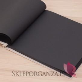 Tradycyjne -Księga gości płótno naturalne - czarne kartki