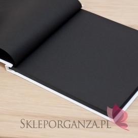 Tradycyjne -Księga gości skóra biała - czarne kartki