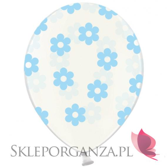 Balony przezroczyste Balony KWIATKI jasnoniebieskie, 6szt.