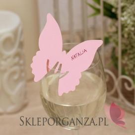 Ozdoby na szklanki Winietka na kieliszek motyl jasnoróżowy