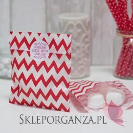 Torebki Papierowa torebka CHEVRON czerwona - personalizacja