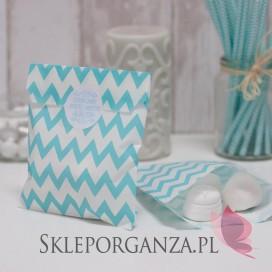 Papierowa torebka CHEVRON jasnoniebieska - personalizacja