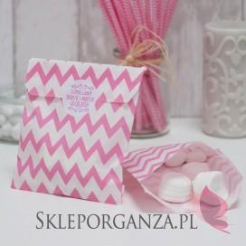 Torebki Papierowa torebka CHEVRON różowa - personalizacja