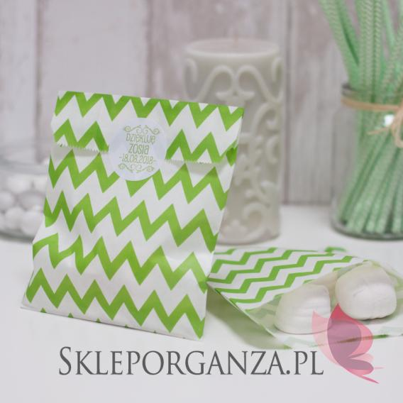 Papierowa torebka CHEVRON zielona - personalizacja
