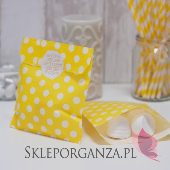 Torebki Papierowa torebka KROPKI żółta - personalizacja