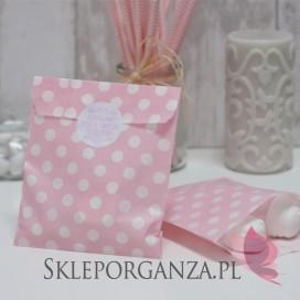 Papierowa torebka KROPKI jasnoróżowa - personalizacja