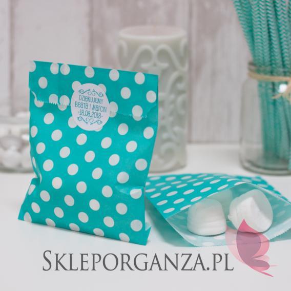 Papierowa torebka KROPKI ciemnomiętowa - personalizacja