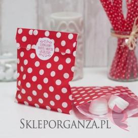 Papierowa torebka KROPKI czerwona - personalizacja