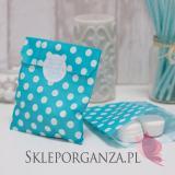 Papierowa torebka KROPKI niebieska - personalizacja
