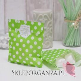 Papierowa torebka KROPKI zielona - personalizacja