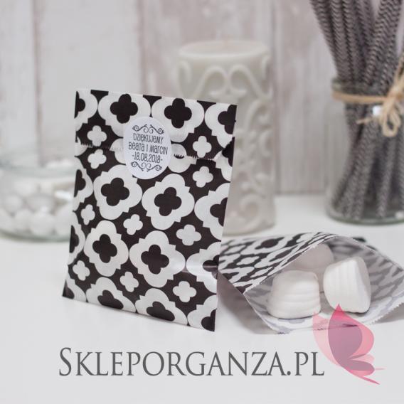 Torebki Papierowa torebka ORNAMENT czarna - personalizacja