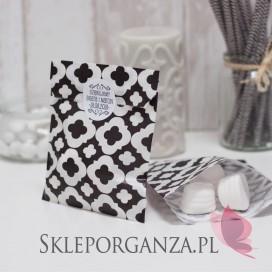 Papierowa torebka ORNAMENT czarna - personalizacja