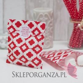Papierowa torebka ORNAMENT czerwona - personalizacja
