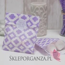 Papierowa torebka ORNAMENT jasnofioletowa - personalizacja