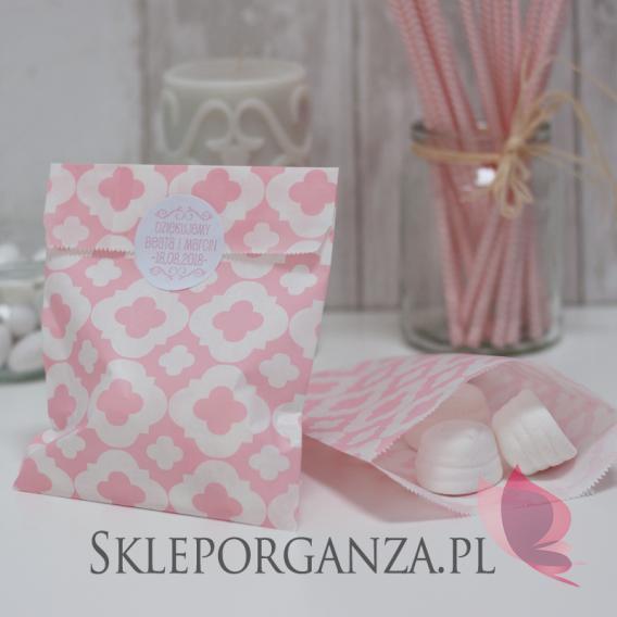 Torebki Papierowa torebka ORNAMENT jasnoróżowa - personalizacja