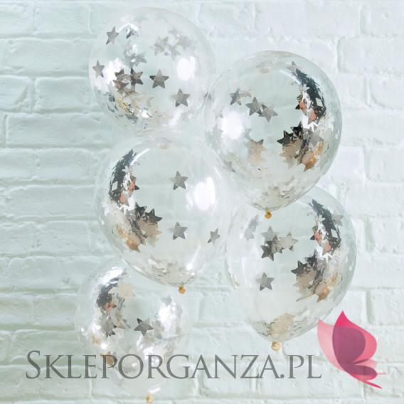 Balony ze srebrny konfetti GWIAZDKI, 5szt