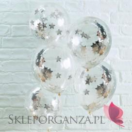 Balony ze srebrnym konfetti GWIAZDKI, 5szt.