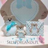 Kolekcja Miś na Baby Shower Pudełko koperta MIŚ niebieski