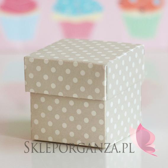 Pudełka Pudełko kostka beżowa kropeczki